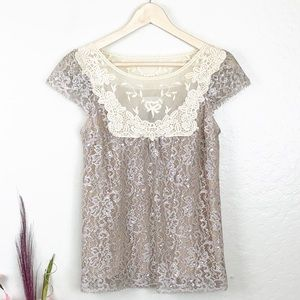 Anthro HD in Paris Lace Cap Sleeves Blouse Top